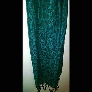 New York & Company Teal Leopard Pashmina